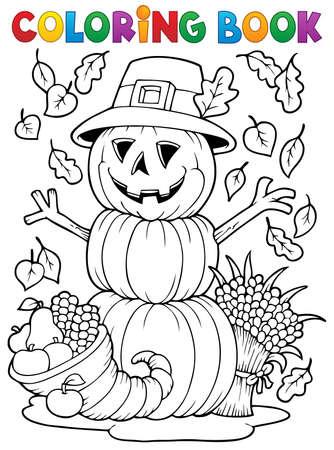livre � colorier: Image Livre de Coloriage Thanksgiving Illustration