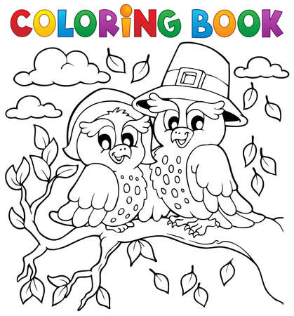 autumn colouring: Coloring book Thanksgiving image