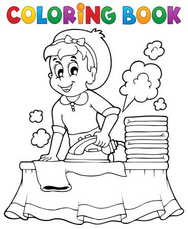 Coloring book with housewife   Vector