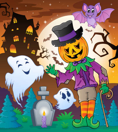 halloween cartoon: Halloween character scene  Illustration