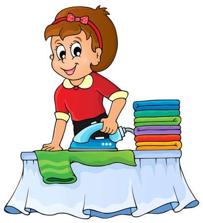 haush�lterin: Hausfrau Thema Bild Illustration