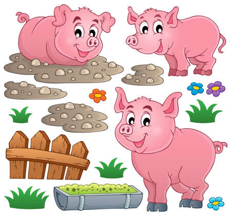 cerdo caricatura: Tema colección Pig Vectores