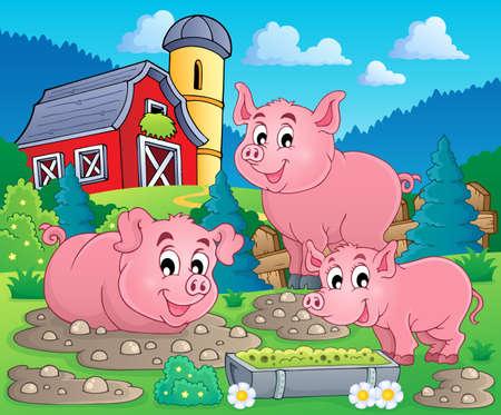 cerdo caricatura: Imagen del tema de cerdo