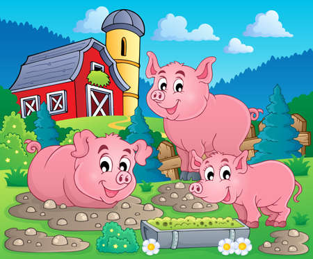 Pig theme image  Vector