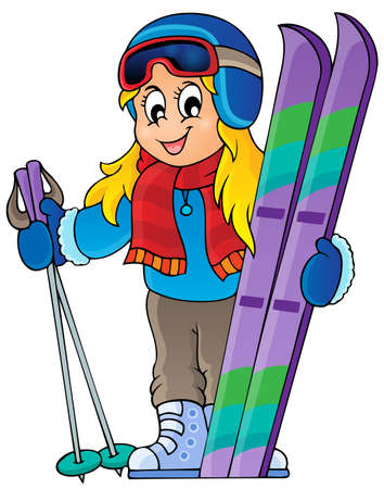 Skiing theme image  Illustration