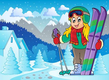 skieer: Afbeelding skiën thema Stock Illustratie