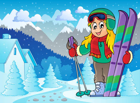 Skiing theme image Vector