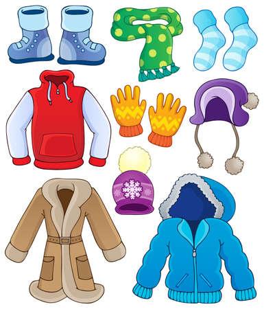 ropa de invierno: Colección de ropa de invierno Vectores