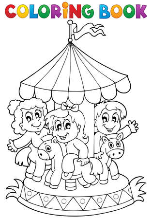 coloring: Coloring book carousel theme 1 - eps10 vector illustration