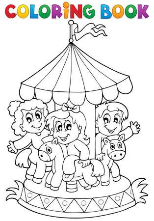 carousel: Coloring book carousel theme 1 - eps10 vector illustration