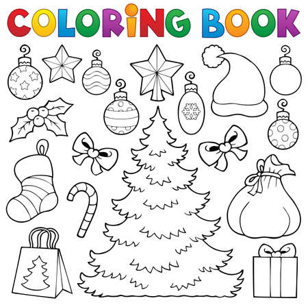 Coloring book Christmas decor 1 - eps10 vector illustration  Illustration