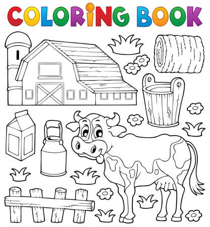 haystack: Coloring book cow theme 1 - eps10 vector illustration