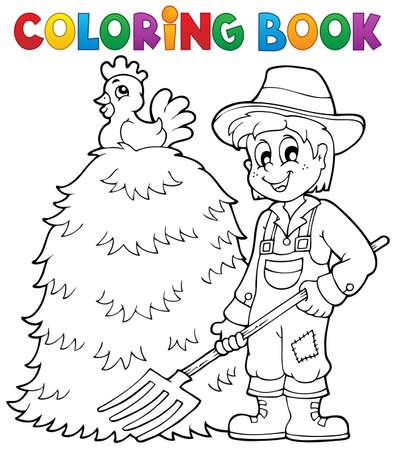 Libro para colorear agricultor tema 1 - ilustración vectorial de eps10