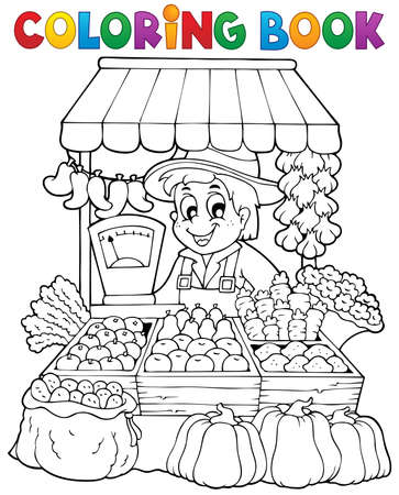 Coloring book farmer theme 2 - eps10 vector illustration  Illustration