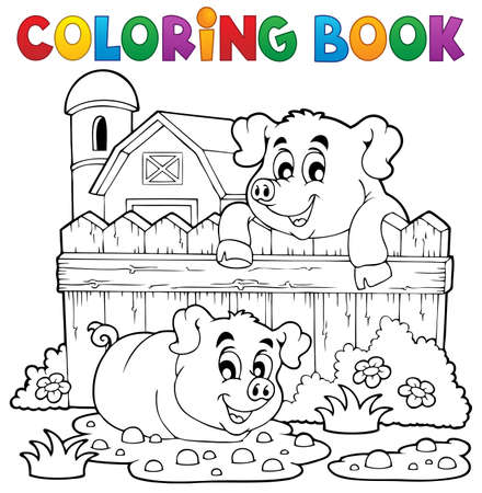 Coloring book pig theme 3 - eps10 vector illustration  Vector