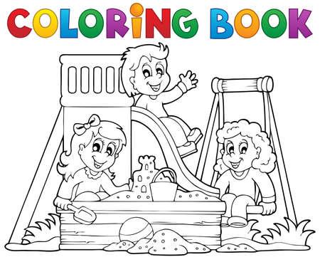 Libro Para Colorear Infantil Parques Temáticos 1 Eps10 Ilustración Vectorial