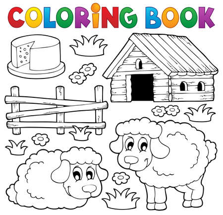 Coloring book sheep theme 1 - eps10 vector illustration  Illustration