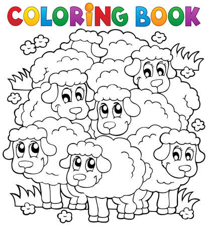 Livre � colorier th�me de mouton 2 - eps10 illustration vectorielle