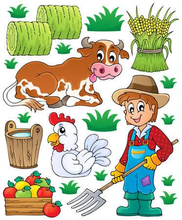 drawing an animal: Tema Farmer set 1 - illustrazione vettoriale eps10