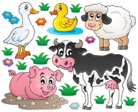 dieren: Boerderij dieren set 1 - vectorillustratie eps10