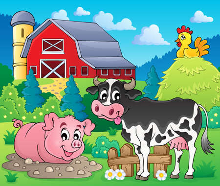 Farm animals theme image 1 - eps10 vector illustration  Vector