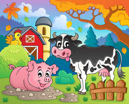 Farm animals theme image 2 - eps10 vector illustration  Vector
