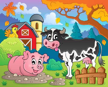 Farm animals theme image 2 - eps10 vector illustration