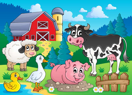 cows grazing: Farm animals theme image 3 - eps10 vector illustration