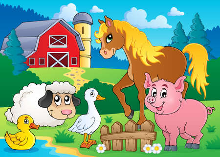 Farm animals theme image 5 - eps10 vector illustration  Vector