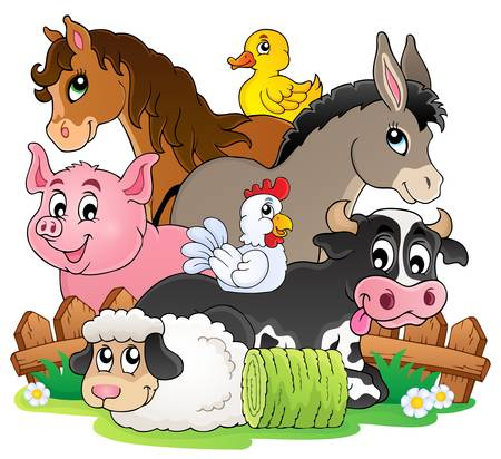 Farm animals topic image 2 - eps10 vector illustration  Ilustracja