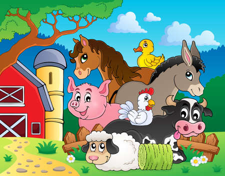 Farm animals topic image 3 - eps10 vector illustration  Illustration