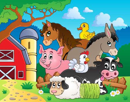 Farm animals topic image 3 - eps10 vector illustration  向量圖像