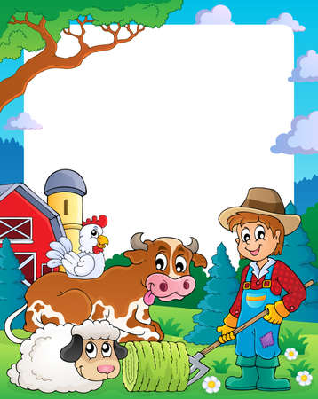 Farm theme frame 3 - eps10 vector illustration  Vector