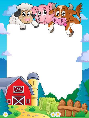 Farm themaframe 4 - vectorillustratie eps10