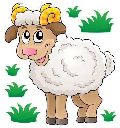 Happy cartoon ram - eps10 vector illustration  Vector