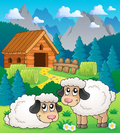 Sheep theme image 2 - eps10 vector illustration  Vector