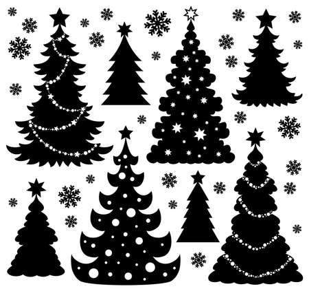 Silhouet van de Kerstboom Stock Illustratie