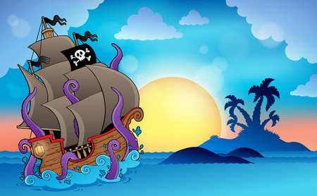 Pirate ship near small island Vector