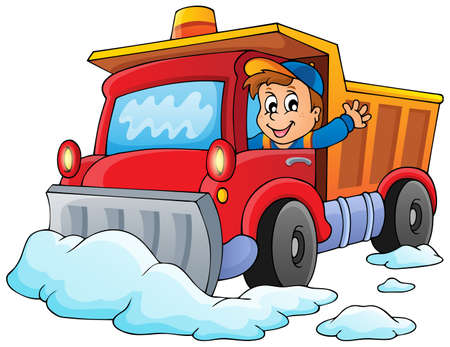 Snow plough theme Vector