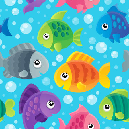 Fish theme seamless background  Vector