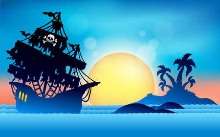 Pirate ship near small island  Ilustracja
