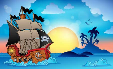 barco pirata: Barco pirata cerca de la pequeña isla Vectores