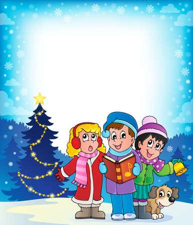 carol singer: Christmas carol singers theme 4