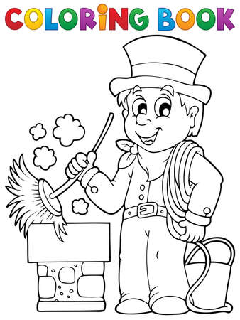clipart chimney: Coloring book chimney sweeper