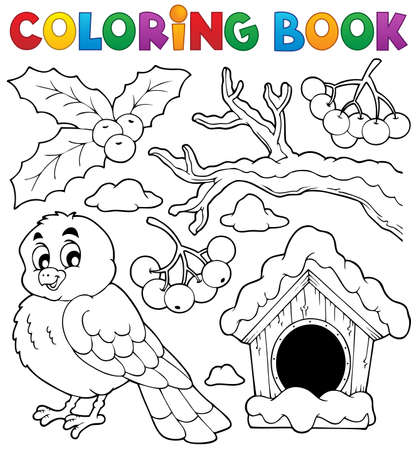 painted wood: Coloring book winter bird theme 1  Illustration