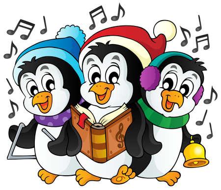 neckscarf: Christmas penguins theme image 1  Illustration