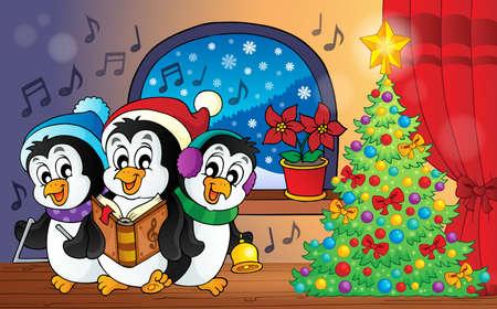 pinguinos navidenos: Ping�inos de la Navidad Imagen del tema 3 Vectores