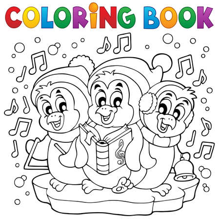 Coloring book cute penguins 4  Vector