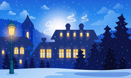 Winter town background 1 - eps10 vector illustration  Vector