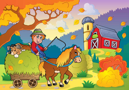 Autumn farm theme Vector